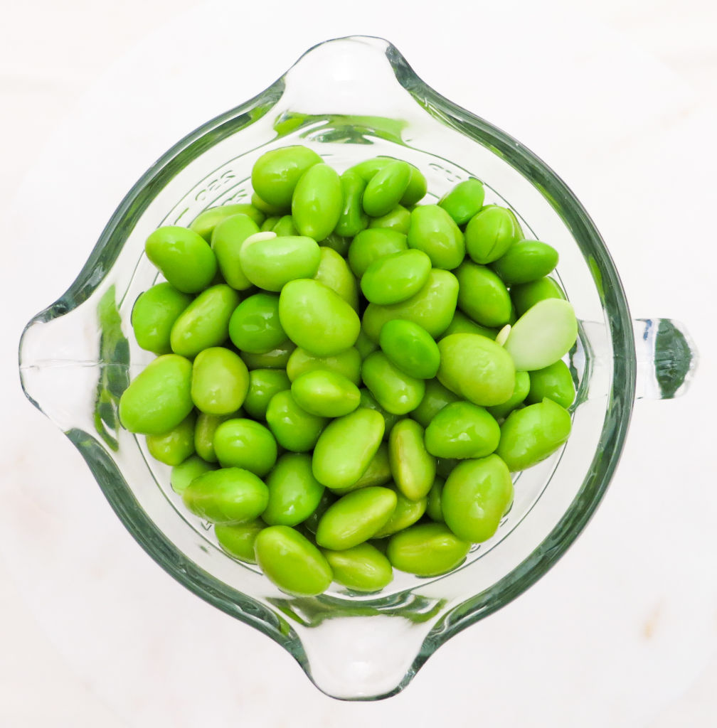 Your edamame should look like this before adding to the food processor. Remember to remove the beans from the shells!