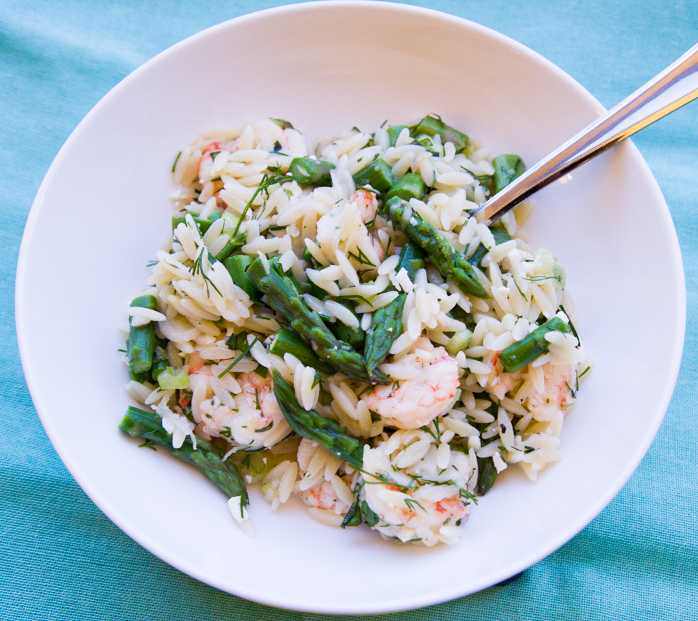 Lemony Orzo With Asparagus & Shrimp