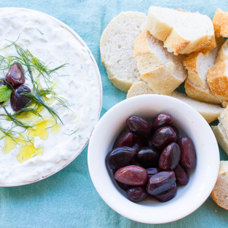 Tzatziki, Olives and Fresh Baguette are the perfect afternoon mezzas