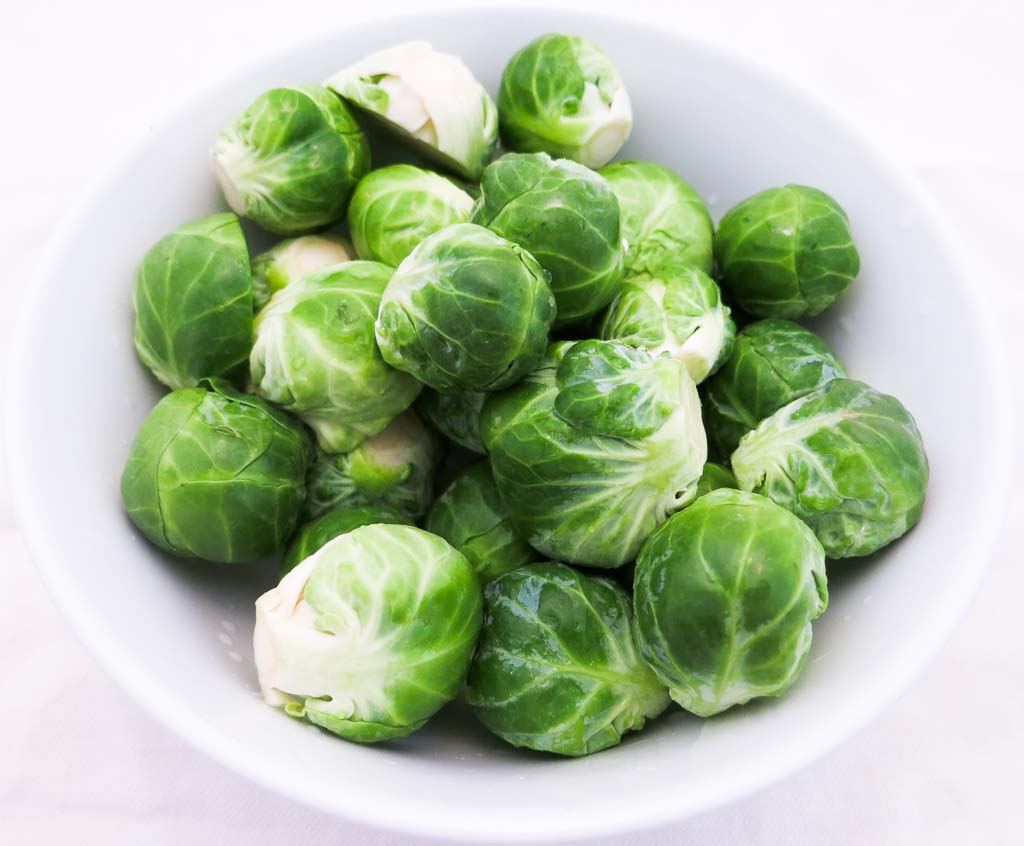 Fresh brussels sprouts from Santa Cruz California. There's nothing like cutting them fresh from the stalk!