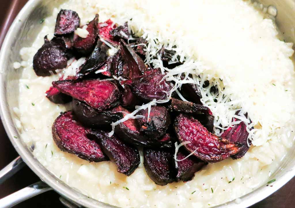 This dish really comes together when you stir in the roasted beets, butter and asiago cheese. A totally decadent, hearty, warm and rich dish!