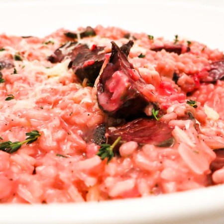 Roasted Beet Risotto with Asiago & Thyme